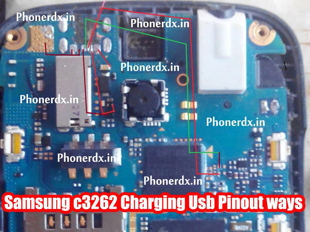 Samsung c3262 Charging Usb Pinout jumper ways solution - PHONERDX ...