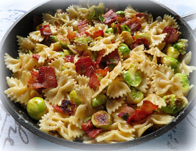 BOW TIE PASTA WITH SPROUTS AND BACON