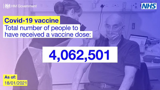 Total vaccination to date carried out by the UK NHS over 4 million