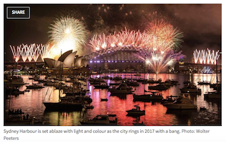 boats anchored in Farm Cove near Sydney Opera House and Sydney Bridge for fireworks