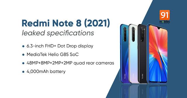 Xiaomi Redmi Note8 2021 Maroc Prix et caractéristiques technique. Xiaomi Note8 2021: 4GB RAM, 64GB