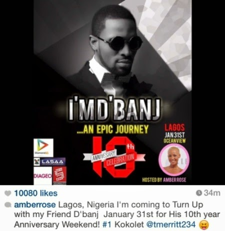 Amber Rose confirms coming to Lagos for D'banj's show