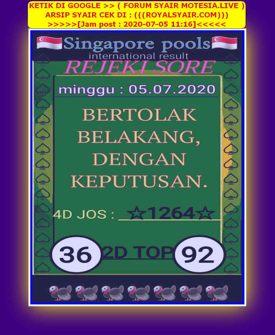 Kode syair Singapore Minggu 5 Juli 2020 43