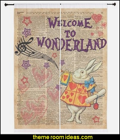 Rabbit Welcome To .. Alice In Wonderland Curtains