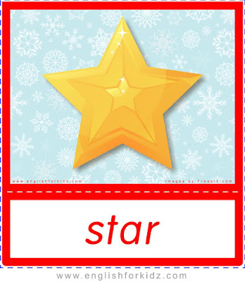 Christmas star - printable X-mas holiday flashcards