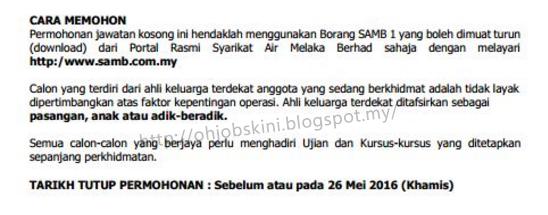Iklan jawatan kosong Syarikat Air Melaka Berhad (SAMB)