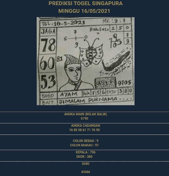 2 - PREDIKSI SINGAPURE 16 MEI 2021