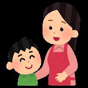 お母さんと話をする男の子のイラスト