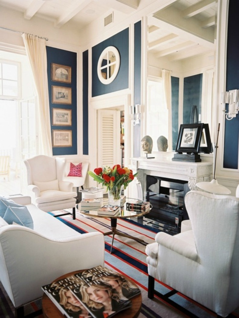 Navy and white coastal nautical space with white slipcover sofa and chairs