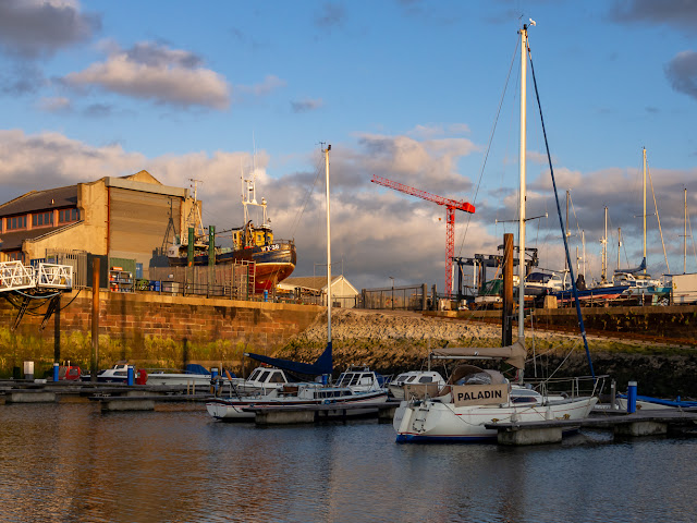 Photof of evening light at Maryport Marina