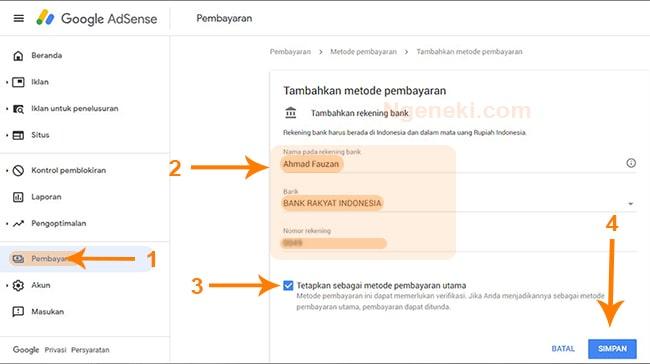 Gambar cara menambahkan metode pembayaran Google AdSense