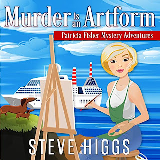 Blonde Woman painting at an easel with two dachsunds behind her. A crusie ship waits in the background. Murder is an Artform Patricia Fisher Mystery Adventure Audiobook Narrator Maryanne Wells