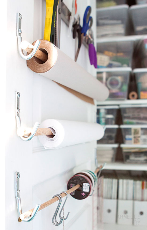 Paper+Rolls+on+a+door Craft Room Storage and Organization from Armelle Studio