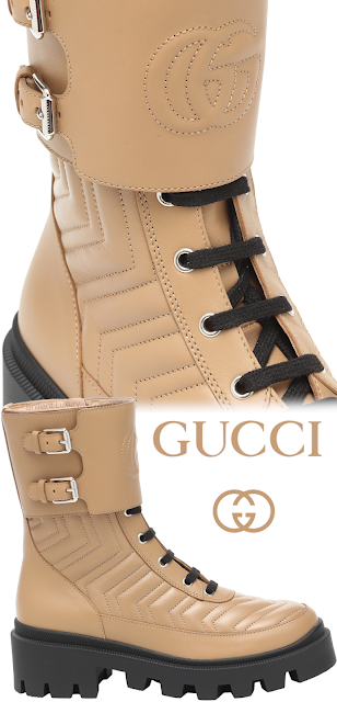 Gucci Frances leather combat boots in natural tan color #brilliantluxury