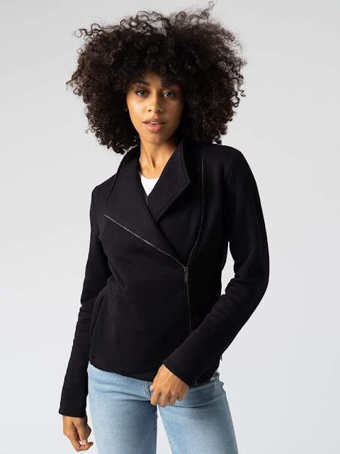 saint and Sofia women's black biker jacket cotton