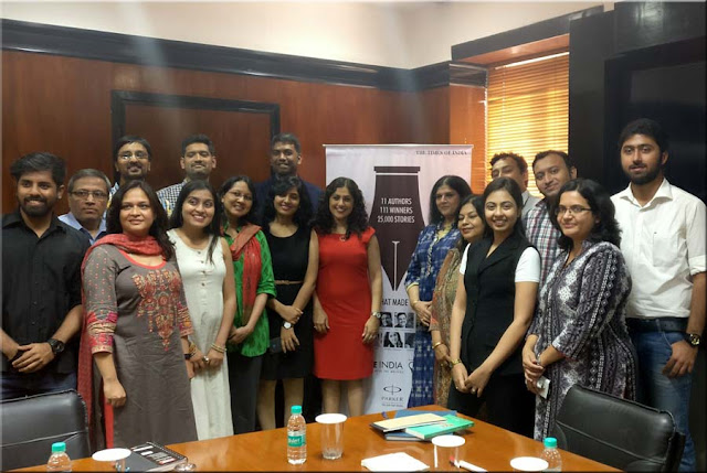 the winners of Write India Season 1 with Vinita Nangia at Times of India office