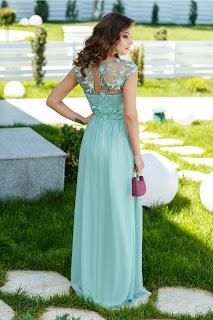 Rochie Sienna verde lunga cu dantela si broderie la bust2