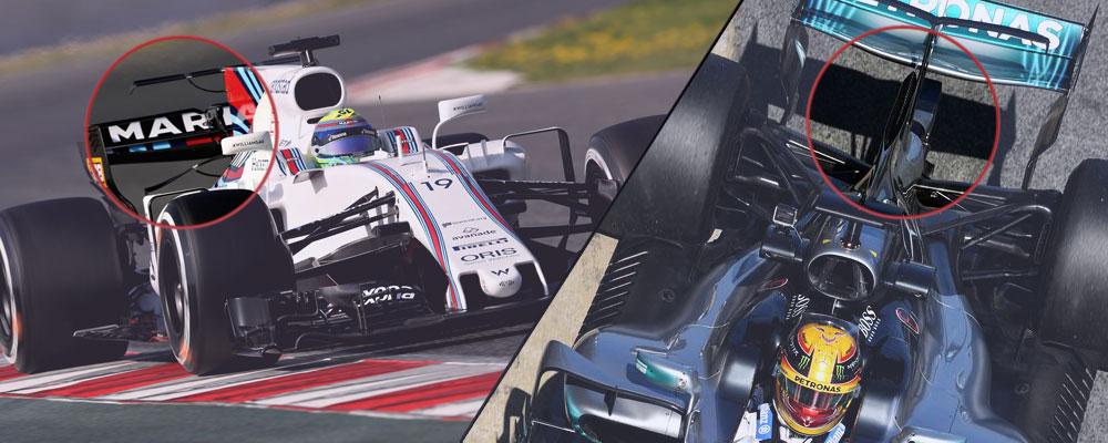 Williams probó un doble T-Wing y Mercedes estrenó una chimenea en la aleta de tiburón