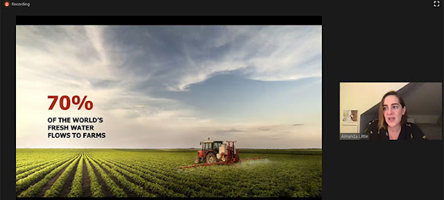 """Amanda Little says 70% of the world's fresh water goes to farms (Source: Amanda Little, """"The Fate of Food"""")"""