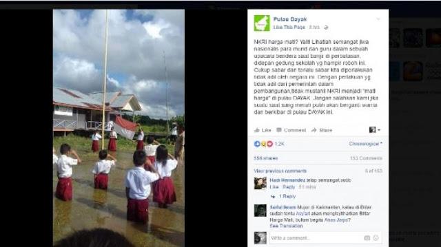 Foto Siswa SD Upacara Bendera di Halaman Sekolah yang Banjir Buat Haru Netizen
