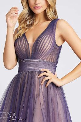 A-line Evening Dress Mac Guggal prom Dress Indigo Ombre Color Front