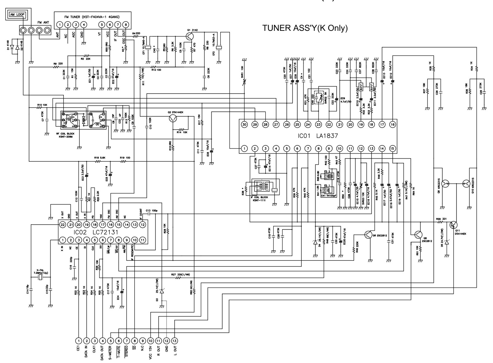 Sherwood RX 4109        circuit       diagram     AMFM STEREO    RECEIVER