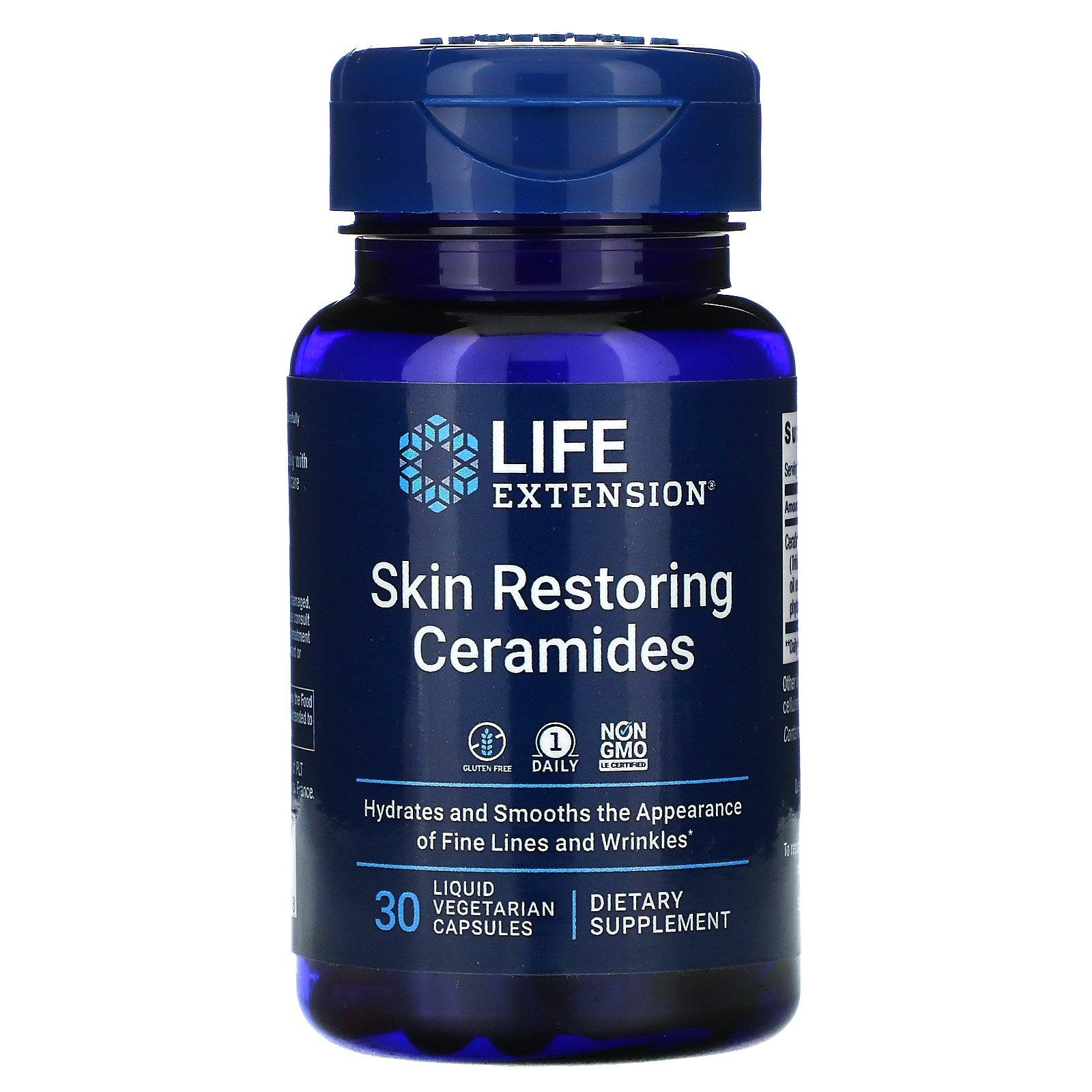 Life Extension, керамиды для восстановления кожи, 30 вегетарианских капсул с жидкостью