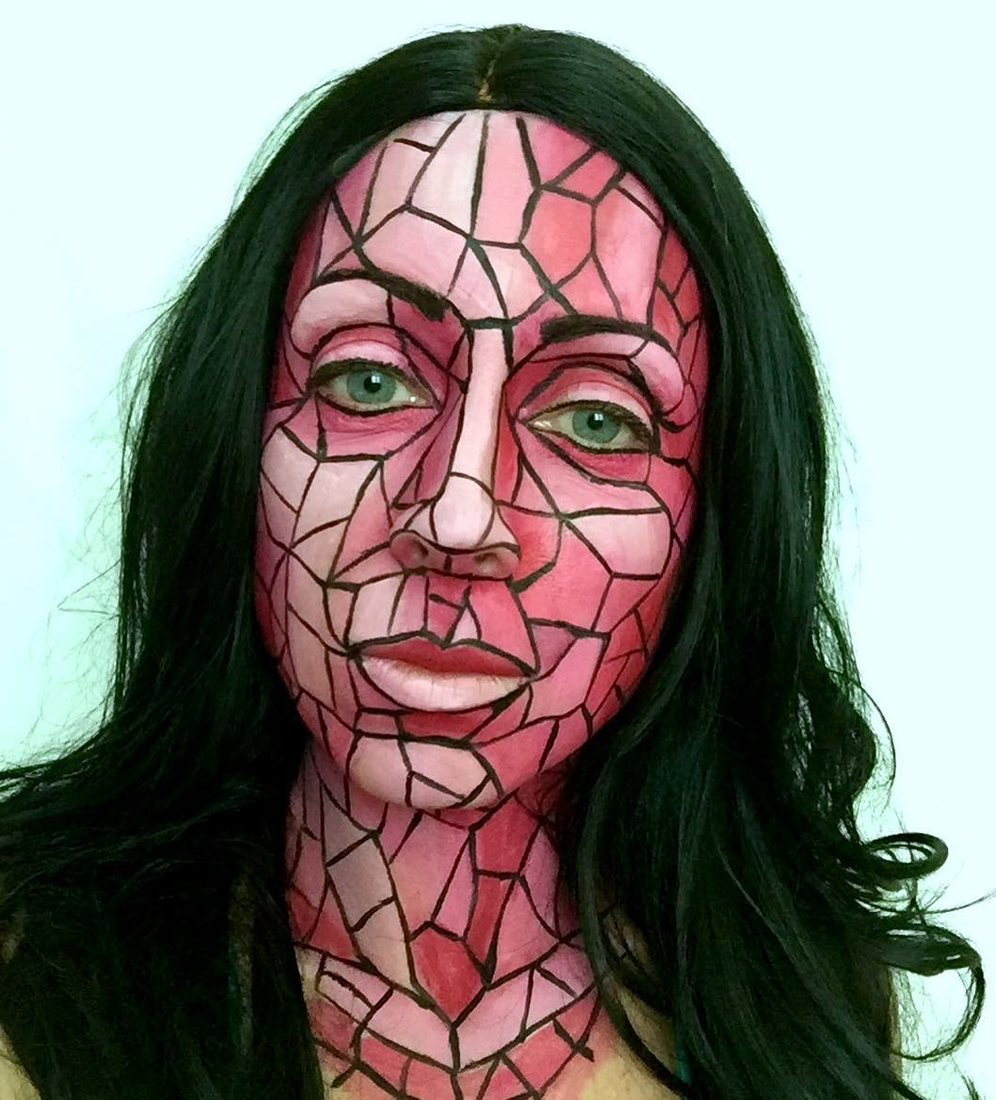 09-A-Pink-Mosaic-Brenna-Mazzoni-Body-Paint-Fx-Makeup-Transformations-www-designstack-co