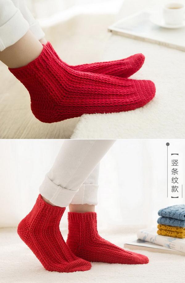 Crochet Socks, Red
