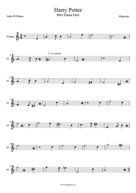 Partitura de Harry Potter Theme para Flauta Fácil Hedwig´s Theme Theme songs Easy Sheet music for Flute (music score) Para maestros de música, para tus alumnos y para disfrutar de una buena banda sonora