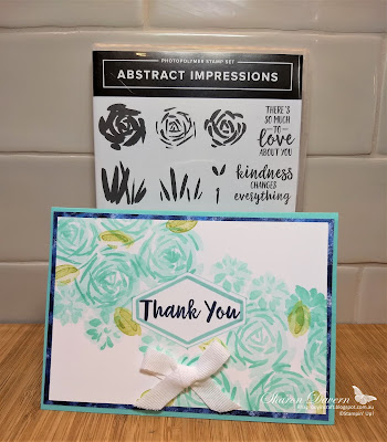 Abstract Impressions, Thank you card, Garden impressions, Stampin' Up, DIY cards, Coastal Cabana
