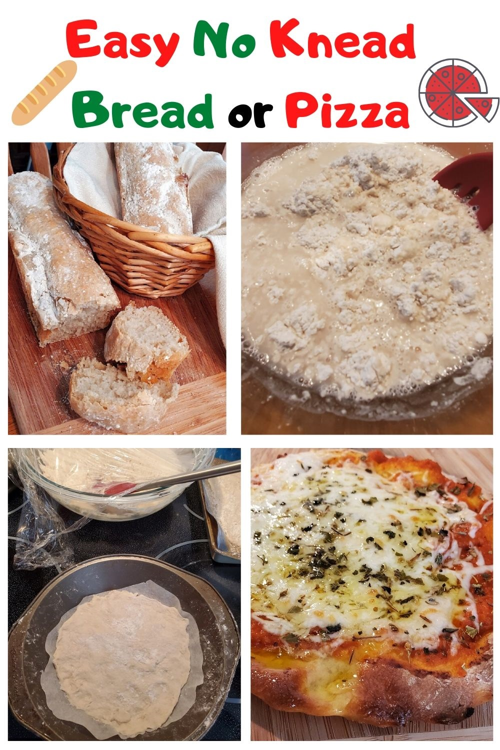 this one bowl no knead bread or pizza pin for later and how to make this recipe
