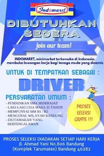 Lowongan kerja driver sopir indomaret Bandung 2020