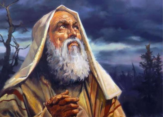 A imagem mostra uma ilustração de Enoque de mãos fechadas em oração olhando para os céus