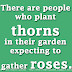 There are people who plant thorns in their garden expecting to gather roses.