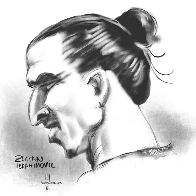 Zlatan Ibrahimovic caricature by Artmagenta