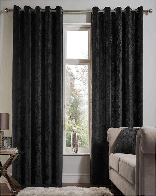 black crushed velvet curtains pencil pleat B&M