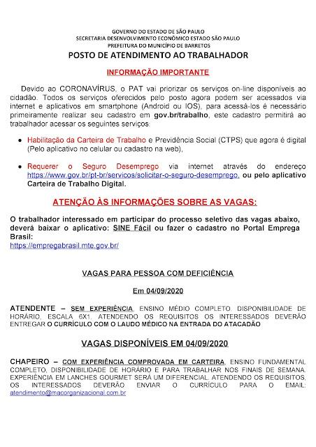 VAGAS DE EMPREGO DO PAT BARRETOS PARA 04-09-2020 PUBLICADAS NA TARDE DE 03-09-2020 - PAG. 1