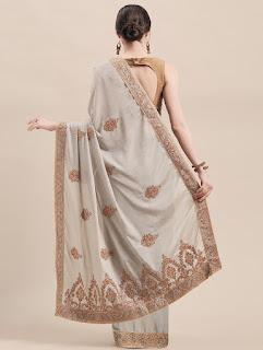 Peach Chinon Silk Saree with Zari and Thread Embroidery Back Design