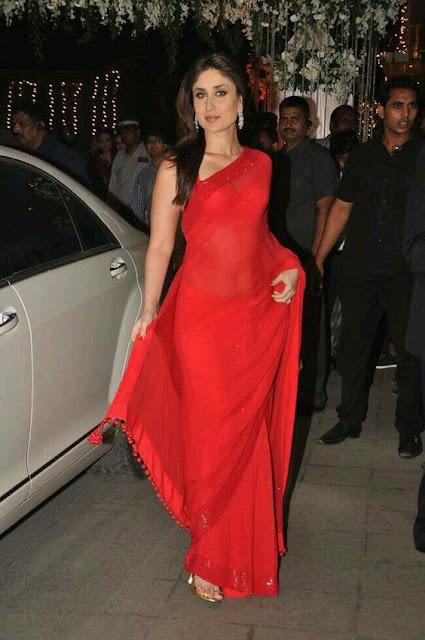 Glamorous Kareena Kapoor Hot Photos In Red Sleeveless Saree Navel Queens