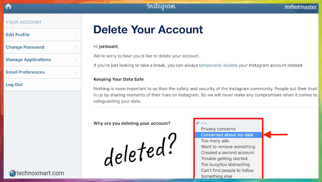 Step By Step Instruction To Delete Instagram Account
