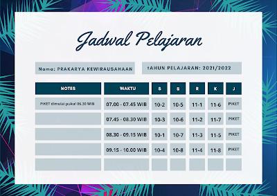 Jadwal Pelajaran TP. 2021/2022