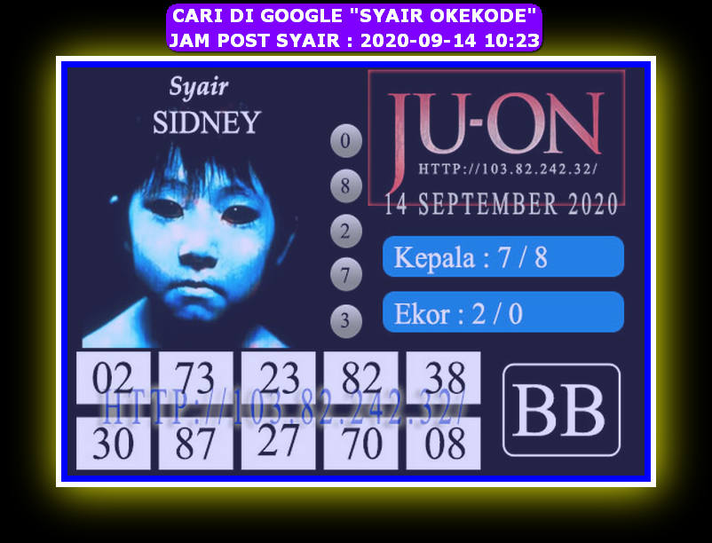 Kode syair Sydney Senin 14 September 2020 162