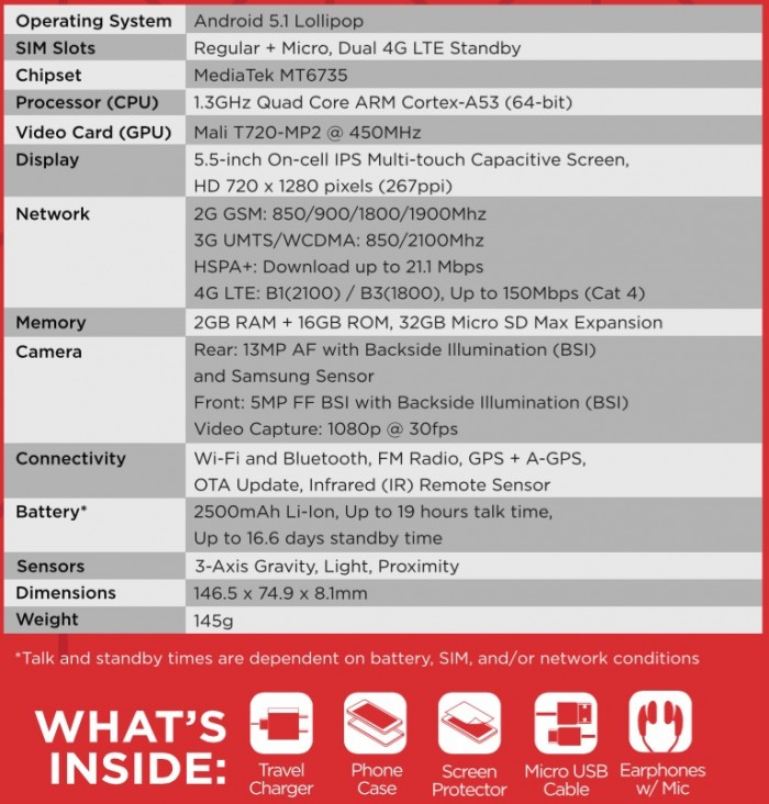 Starmobile UP Ultra Specs
