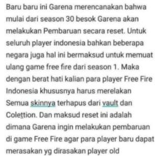Apakah Free Fire Akan di Reset