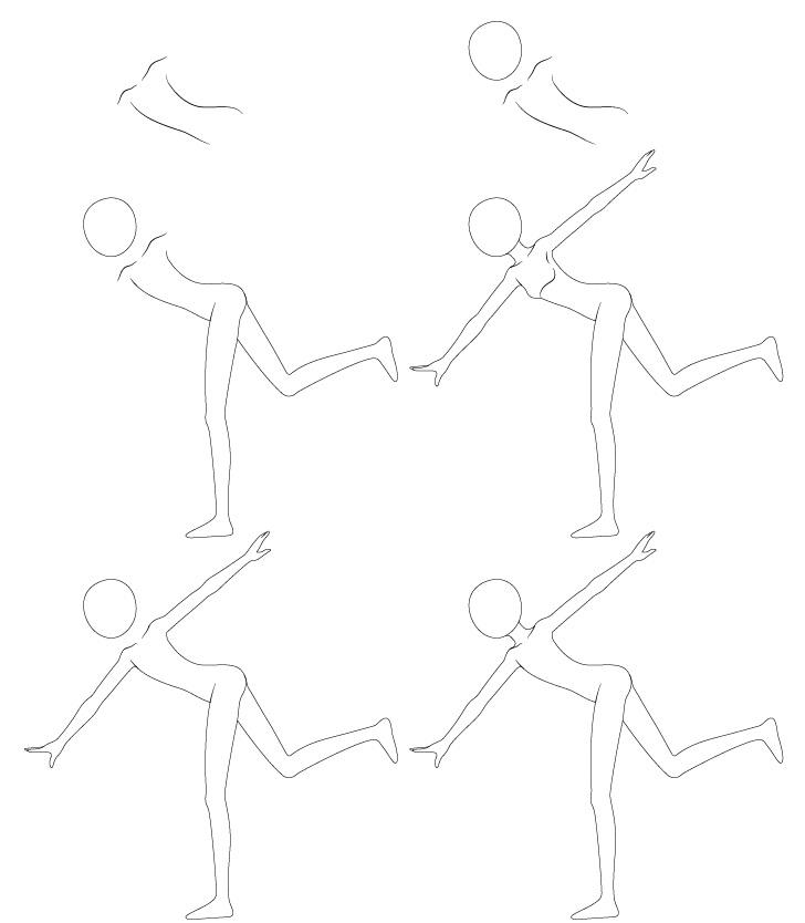 Anime melempar pose menggambar langkah demi langkah