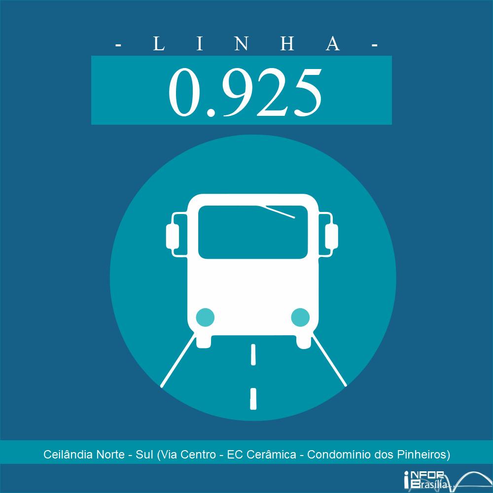 Horário de ônibus e itinerário 0.925 - Ceilândia Norte - Sul (Via Centro - EC Cerâmica - Condomínio dos Pinheiros)