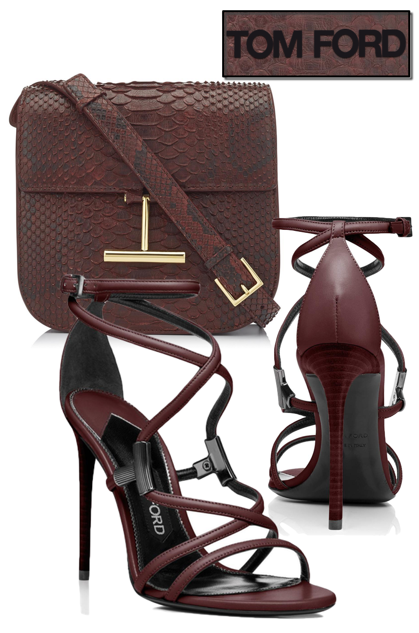 TOM FORD LEATHER T BAR STRAPPY SANDAL CABERNET