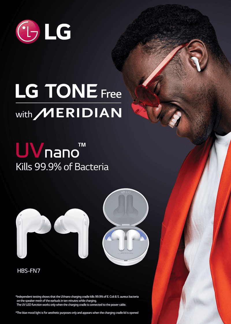 LG FN7 Tone Free wireless earbuds