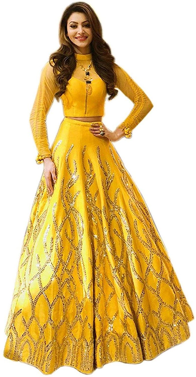 Tread India Women's Semi-stitched Embroidered Lehenga Choli (Tread-urvashi yellow lehenga_Free Size)